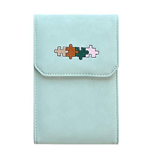 MALFURION Damen Umhängetasche, kleine Handytasche, Geldbörse mit Kreditkartenfächern, Grn (C-light Green), Einheitsgröße -