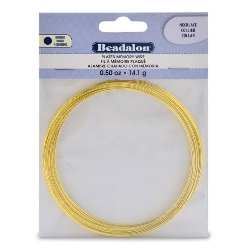 Gold Plated Memory Wire Necklace .5 Oz/Pkg-Approx 18 Loops by Beadalon -