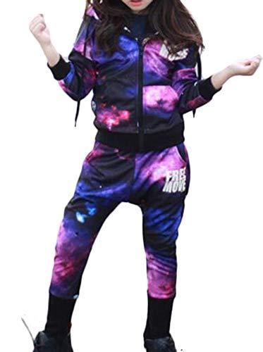 MILEEO Mädchen Jungen Hooded Trainingsanzug Sportanzug Trainingsanzug Jacke Hose Baumwolle Jogginganzug