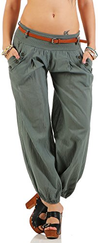 malito Damen Chino Hose in Uni Farben | Freizeithose mit Gürtel | Sommerhose für den Strand | Haremshose – Pumphose 6017 (oliv, S)