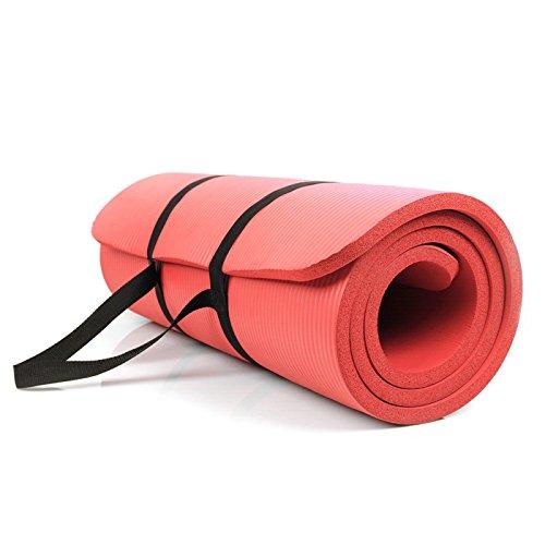Promic Trainingsmatte, 183 cm x 63 cm x 1,5 cm Yogamatte, Pilates Matte, für Yoga, Pilates und andere Trainings zu Hause und Studio, rutschfeste Gymnastikmatte mit Tragegürtel, Rot