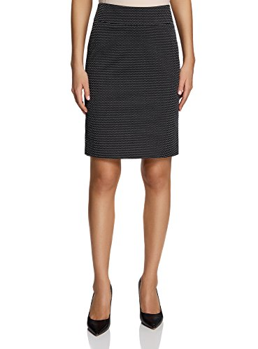 oodji Collection Donna Gonna Dritta in Jacquard Nero (3391D)