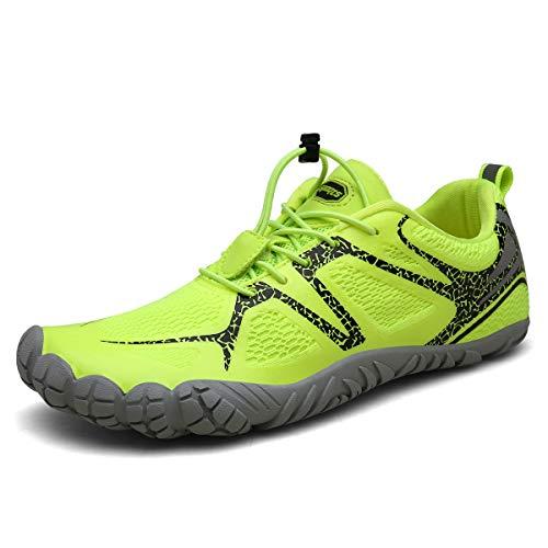 FOGOIN Barfußschuhe Herren Damen Outdoor Fitnessschuhe Laufschuhe Minimalistische Sneaker im Sommer Gr.37-47, Grün, 46 EU