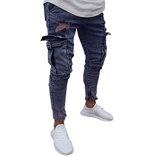 Hosen Stretch Jeans Hose Distressed gerippte Slim Fit Tasche Cardigan lösen Skinny Karikatur Kapuzenmantel Mantel Kleidung langärmlig Knopfleiste schöne ()