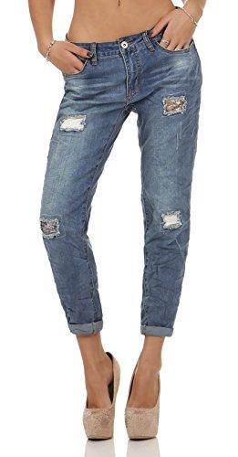 Rock Angel Damen Boyfriend Jeans Hose Rosie LRA-072 destroyed middle blue L (Stretch-rock Low-rise)