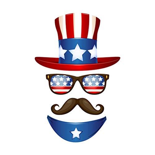 Amosfun Unabhängigkeitstag Wandtattoo Amerikanische Flagge Wandaufkleber DIY Hut Glasförmige Aufkleber Abnehmbare Wandaufkleber für 4. Juli Patriotische Party Dekoration