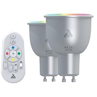 AwoX SKR2LMC5GU10 Set of 2 LED Bulbs and Remote Control, Plastic/Resin, GU10, 30 W, White