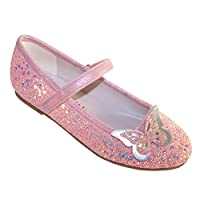 Girls Children Sparkly Pink Peach Glitter Ballerina Party Special Occasion Shoes with 2D Butterfly Trim Size 9