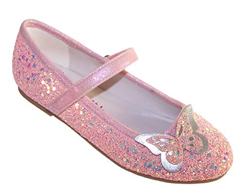 The Sparkle Club Mädchen rosa Funkelnde Flache Ballerinas der Partei- und Gelegenheitsballerina EU 24 (Prinzessin Glitter Kostüm)