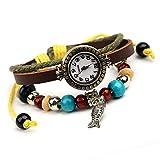 Eeayyygch Mode Temperament 100 / Rindsleder Armbanduhr/kleine Fisch anhänger/Student Armband Tabelle/Damen Leder Armband Tabelle (Farbe : -, Größe : -)