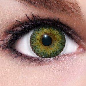 Lenti a contatto colorate 3Tones 'Verde' morbide, non corrette + 10ml di soluzione combinata, in confezione da due - prodotto a marchio di qualità superiore, comode da indossare e perfette per celebrazione o Cosplay