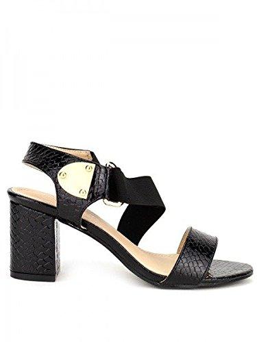 Cendriyon, Sandale Vernie Noire DALS Chaussures Femme Noir