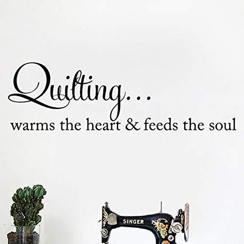 Quilten wärmt das Herz Zitat Wandkunst Aufkleber Nähen Quilten Schriftzug Worte Vinyl Aufkleber Kunsthandwerk Raum Wand Kunst Dekor 110x35 cm -
