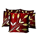 #6: Czar Home Maroon Golden Floral Cushion Cover 16x16 Set of 5