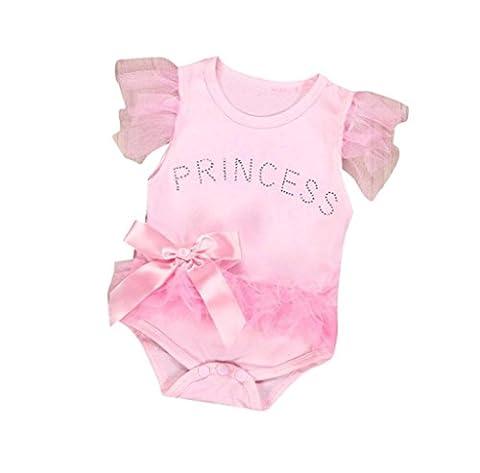 Tefamore Baby Girl Bowknot Lace Princess Romper Bodysuit (0-6M, Pink)