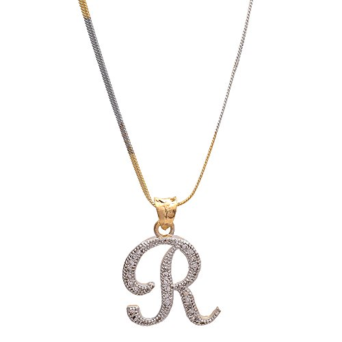 Zcarina Gold Plated 'R' Letter American Diamond Pendant Locket Alphabet For Men And Women With Chain