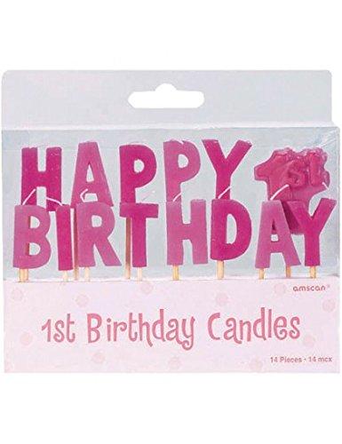 Amscan 14teilig Pick Mädchen erste Happy Birthday Kerzen Party Zubehör