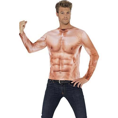 Sportler Kostüm Männer - NET TOYS Adonis Körper Sixpack Muskel Kostüm L 52/54 Sportler Muskelkostüm Muskelshirt Herren Muskelattrappe Oberteil Shirt Durchtrainierter Oberkörper Faschingskostüm Männer