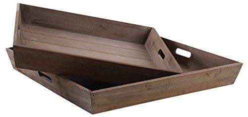 Plateaux carrés en bois (Lot de 2)