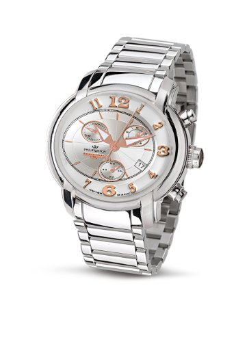 Philip Men's Anniversary Chronograph Watch R8273650045 with Quartz Movement, White Dial and Stainless Steel Case