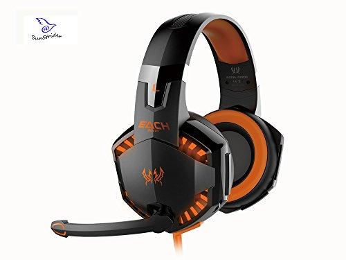 KOTION EACH G2000 Casque Gaming Filaire avec micro Basse stéréo LED pour PC Game LED Lumière Contrôle du Volume pour PS4 PC (Noir & Orange)