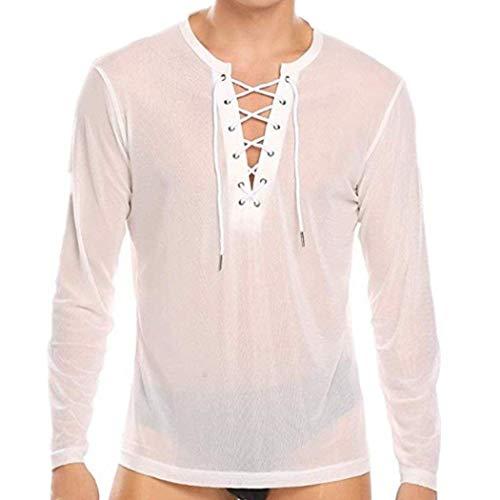 iEFiEL Herren Transparent Hemd Langarm Shirts Tops Unterhemd aus Mesh Erotik T-Shirt Reizwäsche Sportshirt Party Clubwear Weiß X-Large