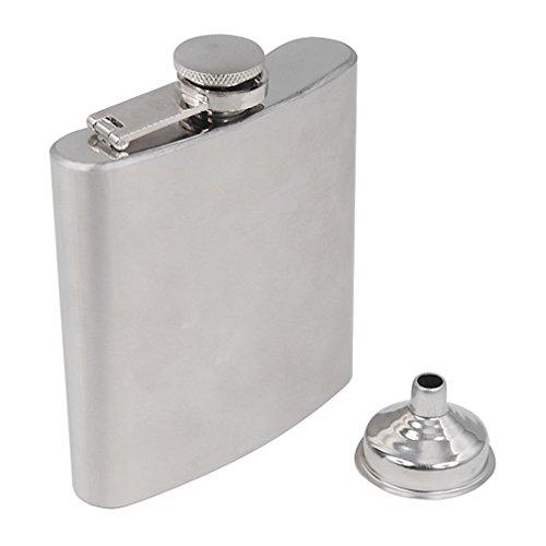 Hemore Unidades Regalo para Botella de Licor Alcoholímetro la Cadera de Acero Inoxidable con Whisky y Embudo (8Once)