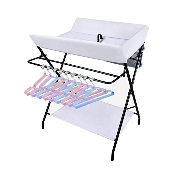 Folding Baby Changing Table for Small Spaces, Portable Nursery Infant Diaper Massage Station Dresser for Household Travel, Grey, 0-2 Years Old (color : B) AA-SS-Changing Table Stable Construction: Sturdy metal frame keep the table stable. While the other part is made of durable and wearable Oxford cloth. Folding: Easily fold it if you finish all the tasks! With its space saving design, you can store it behind a door. Large Storage Space: Equipped with 3 compartments aside the table, you can place soaps, towels and any other accessories conveniently. 9