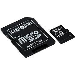 Kingston - SDC4/32GB - Carte Micro SDHC - Classe 4 - 32 Go avec Adaptateur