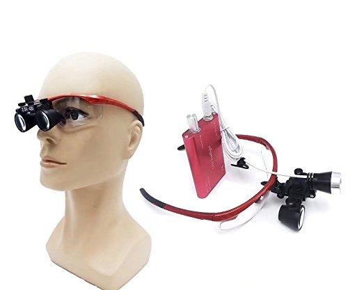 BoNew Tragbare Surgical Fernglas, 2,5 x 420 mm, optisches Glas, 3 W LED-Scheinwerfer, Rot