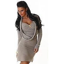 Elegante Mujer London vestido de punto con agua caso Recorte–Long Sudadera en varios colores–One Size 34–38(JL de 300–59)