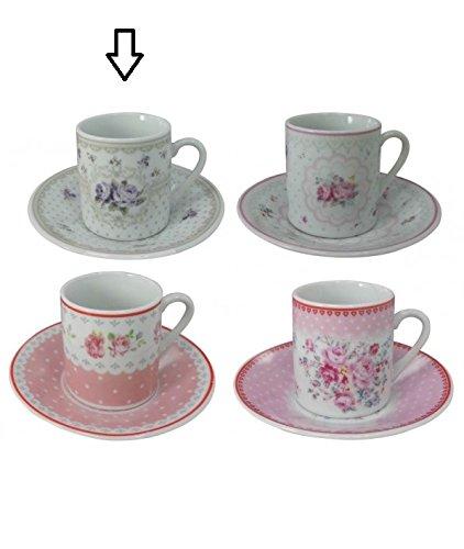 Märchenhaftes 12 tlg. Porzellan Espresso-, Mokkatassen Set im Geschenkkarton, Rosendesign in...