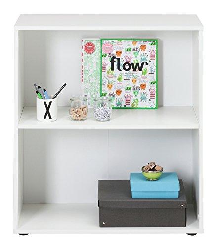 Regal Standregal Bücherregal FIONA | 2 Fächer | Weiß | BxHxT: 70x80x30 cm (Bücherregal 2 Schmal Regal)