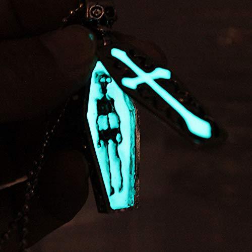 Cross Halskette Glowing Halskette Pendants Kreuz Skull Chain Mode Schmuck Glow In The Dark Boy Men Halskette Casket Coffin (Glow The In Cross Dark)