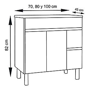 DUCHA.ES Mueble DE BAÑO con Lavabo Y Espejo Blanco, Aplique LED NO Incluido Varias Medidas(70CM)