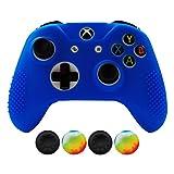 Hikfly Anti-Rutsch-besetzte Gummi Öl Silikon Controller Abdeckung mit 4pcs Daumen Griffe Kappen Kit für Xbox One X/ One S / Slim Controller(Blau)