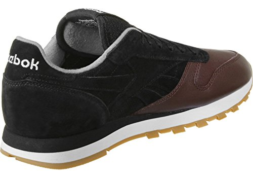 Reebok Cl Leather Ls, Chaussures de Running Homme Multicolore - noir/terre de Sienne/gris (Black / Burnt Sienna / Ash Grey / Gum)