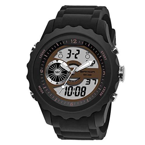 HHyyq Digital-Armbanduhr für Herren, Herren, wasserdicht, Militär-Uhren, legere elektronische Uhr mit Alarm/Timer Outdoor-Sport-Armbanduhr für Männer und Jugendliche(Kaffee) -
