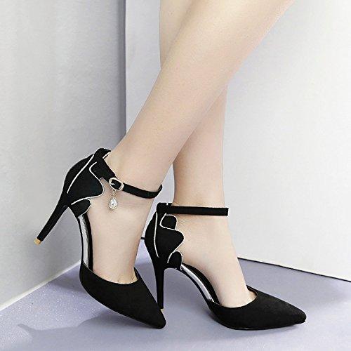 GTVERNH-la primavera e l'estate di nero 8.5cm scarpe fibbia di strass stiletto scarpe a punta resistente all'acqua bassa sono sandali.,36 Thirty-five