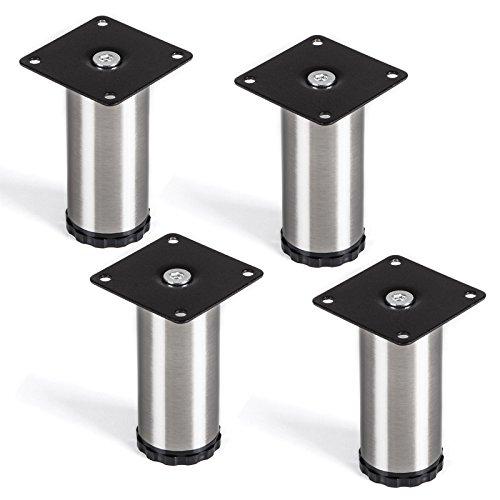 SO-TECH® Juego de 4 Patas de mueble Pata del armario 'Lukas' Ø 42 mm Altura ajustable Acero fino Altura 100 mm