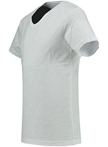 Black Rock Herren T-Shirt - 2er 3er 4er 5er Pack - V-Ausschnitt - Slim-Fit/Figurbetont - Oversize - Meliert - Kurzarm Vintage Shirt Weiß 4er