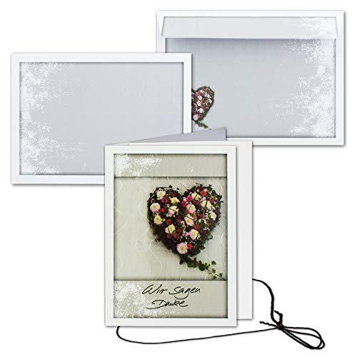 50x Trauerkarte mit Umschlag Set Danksagung - Herz - inklusive hochwertiger Box- DIN A6 Hoch-Format - Danksagungskarten Trauerkarten nach Beerdigung - Trauer-Papiere by Gustav NEUSER