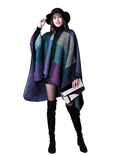 (Damen Poncho Herbst Winter Kariert Capes Patchwork Strickjacke Mehrere Funktion (One Size, Plaid / lila))
