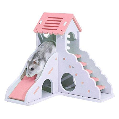 miraculocy Hamster Nest - Hamster Schlafnest Kreative Farbe Kleines Haus Spielzeug Nest Bär Bär Doppel Bungalow Villa Balkon Hamster Käfig -