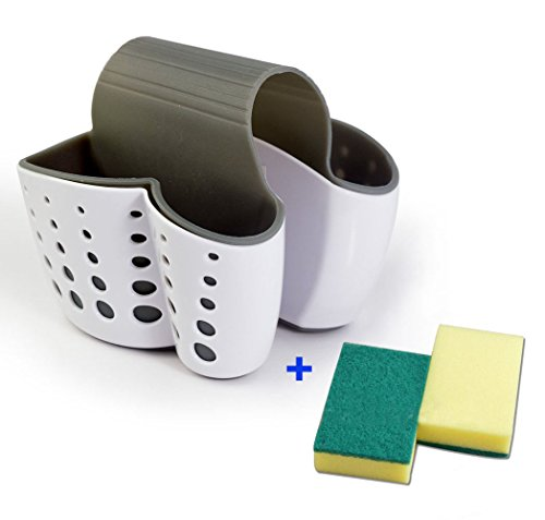 Große Sattel Spüle Caddy Schwamm Halter Scheuerschwamm Caddy Trocknen Rack für Küche weiß Dish Caddy