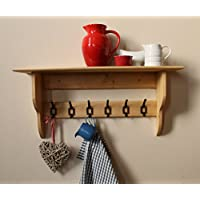 Deep shelf with vintage-style school hooks, antique wax finish, 2 to 10 hooks