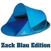 Pop up Strandmuschel Zack II blau von outdoorer - selbstaufbauende Strandmuschel mit UV Schutz UV60