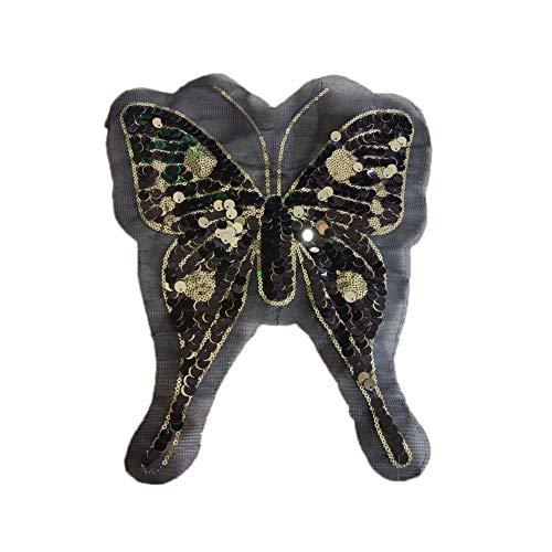 Chakil - Pegatinas de tela con diseño de mariposas y lentejuelas, para zapatos, sombreros, bolsos, accesorios, manualidades, tamaño 31 x 24 cm, color negro
