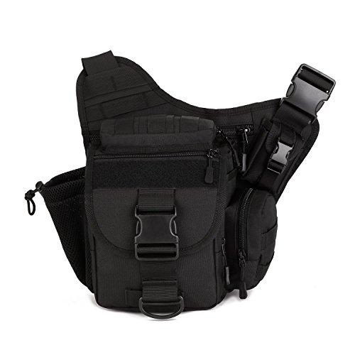 Outdoor Multifunzione Borsa a Tracolla Tattico Militare Borsa Messenger Porta Fotocamera per Sport Campeggio Alpinismo Escursionismo, Nero