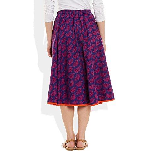 Damen Bekleidung Baumwolle gedruckt mittellanger Rock a-Linie PURPURROTE WEIN